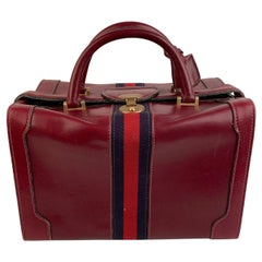 Gucci Vintage Burgundy Leather Travel Bag Train Case Beauty Handbag