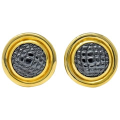 Gucci Vintage Carved Hematite 18 Karat Gold Ear-Clip Earrings