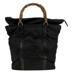 Gucci Vintage Dark Brown Canvas Bamboo Handbag Tote