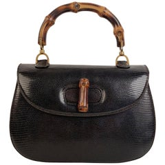Gucci Vintage Dark Brown Leather Bamboo Top Handle Bag