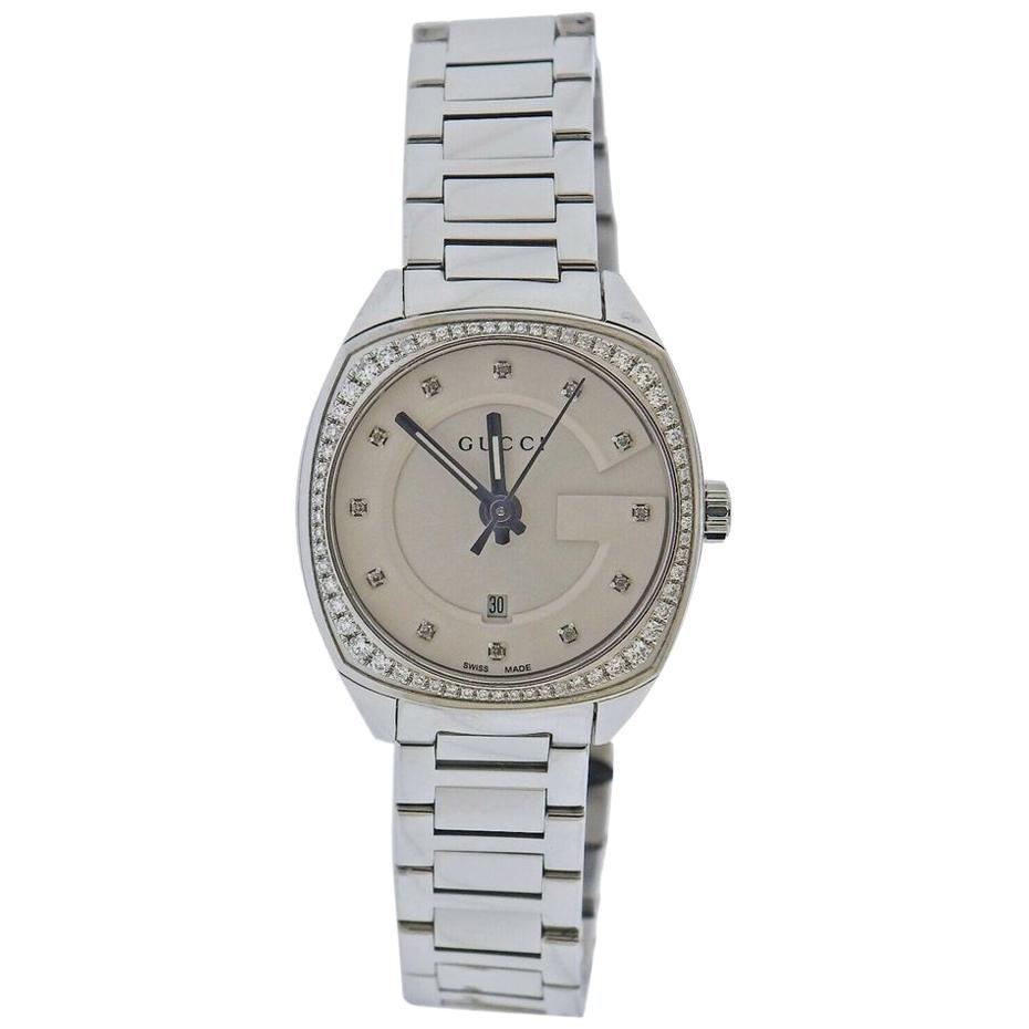 Gucci Vintage Diamond Dial Steel Ladies Watch YA142505
