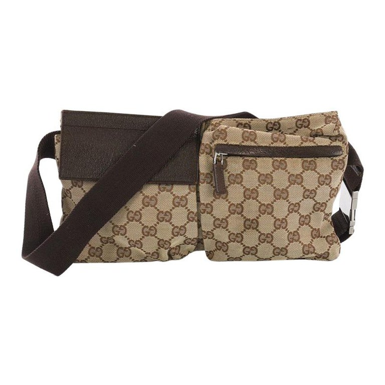 5c8d5436f32f Gucci Vintage Double Belt Bag GG Canvas at 1stdibs