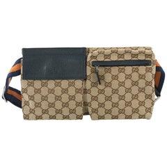 Gucci Vintage Double Belt Bag GG Canvas