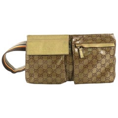 Gucci Vintage Double Belt Bag GG Coated Canvas
