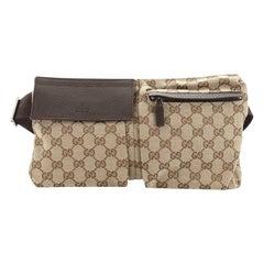 Gucci Vintage Double Web Belt Bag Canvas