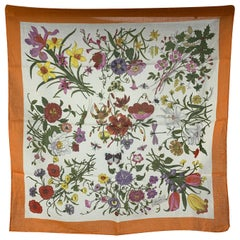 Gucci Vintage Floral Cotton Neck Scarf Flora 1966 Accornero 45 x 45