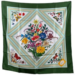 Gucci Vintage Floral Silk Scarf Triangoli Triangles 1975 Accornero