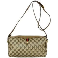 Gucci Vintage GG Monogram Supreme Zip Top Crossbody Bag W/ Web Detail