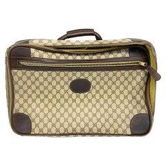 Gucci Vintage GG Supreme Canvas Leather Trim Suitcase Luggage