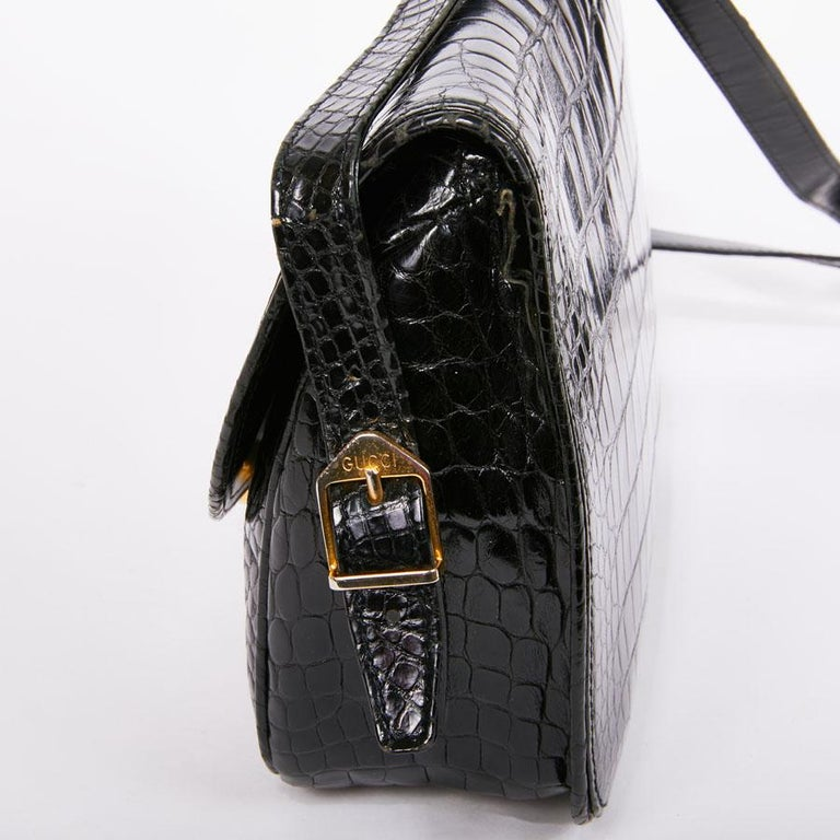 GUCCI Vintage Glossy Black Crocodile Bag   For Sale 9