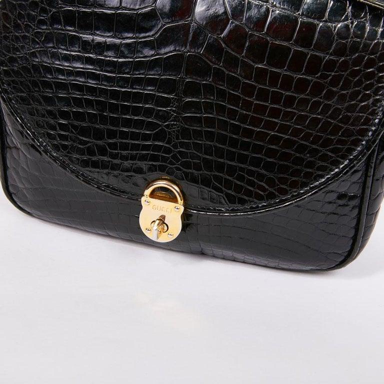 GUCCI Vintage Glossy Black Crocodile Bag   For Sale 10