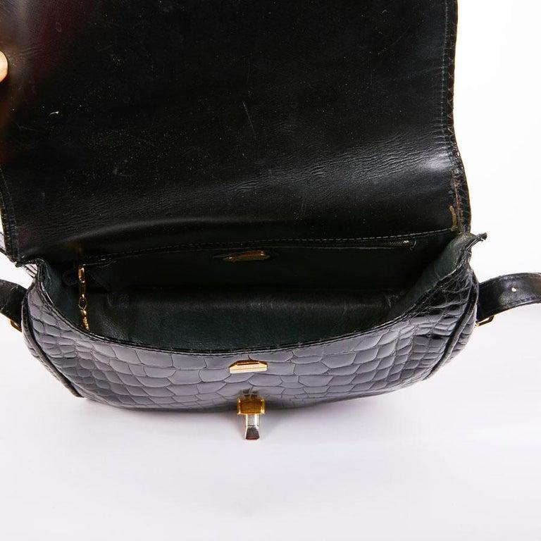Women's GUCCI Vintage Glossy Black Crocodile Bag   For Sale