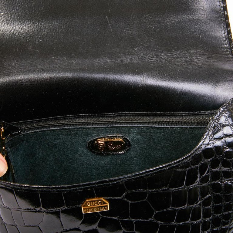 GUCCI Vintage Glossy Black Crocodile Bag   For Sale 1