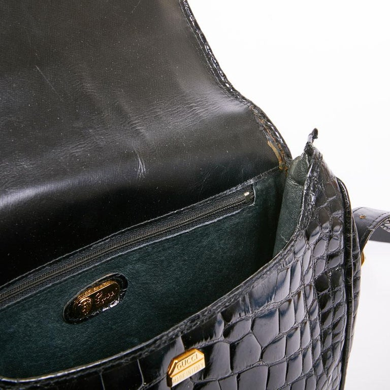 GUCCI Vintage Glossy Black Crocodile Bag   For Sale 2