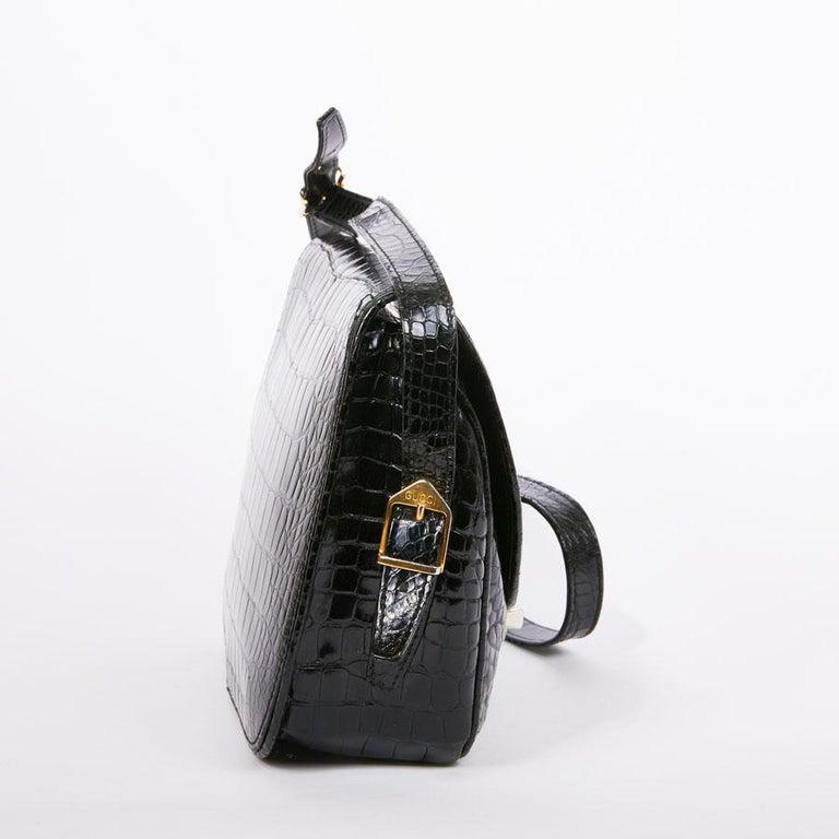 GUCCI Vintage Glossy Black Crocodile Bag   For Sale 3