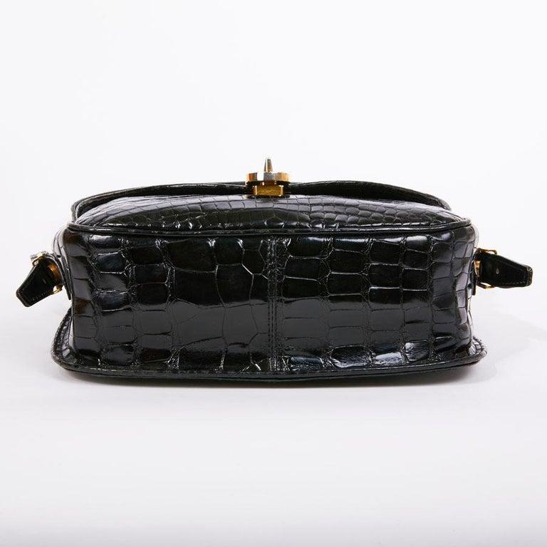GUCCI Vintage Glossy Black Crocodile Bag   For Sale 4