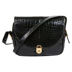 GUCCI Vintage Glossy Black Crocodile Bag