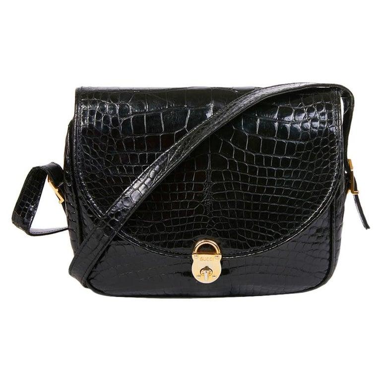GUCCI Vintage Glossy Black Crocodile Bag   For Sale