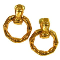Gucci Vintage Gold Bamboo Doorknocker Round Hoop Dangle Drop Evening Earrings