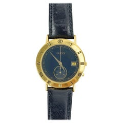 Gucci Vintage Gold Plated Chrono Stop Watch 3800 M Leather Strap