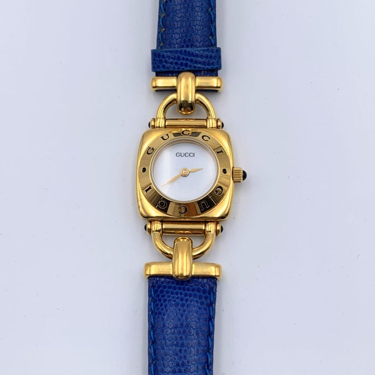 Gucci Vintage Gold Plated Mod 6300 L Wrist Watch White Dial In Excellent Condition In Rome, Rome