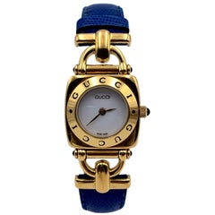 Gucci Vintage Gold Plated Mod 6300 L Wrist Watch White Dial