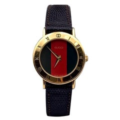 Gucci Vintage Gold Stainless Steel Web 3000.2.L Watch Leather Strap
