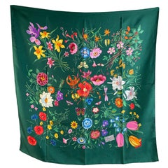 Gucci Vintage Green Floral Silk Scarf Flora 1966 Accornero