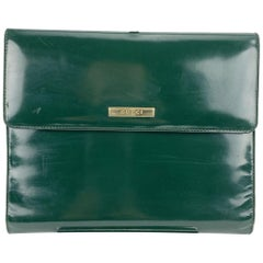 Gucci Vintage Green Patent Leather Notebook Agenda Cover