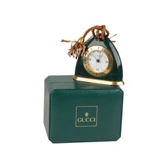 Gucci Vintage Green Stirrup Desk Table Clock Alarm Time Piece