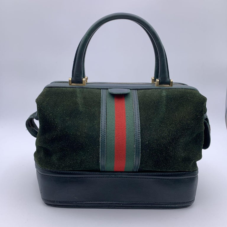Gucci Vintage Green Suede Leather Travel Bag Train Case with Stripes For Sale 1