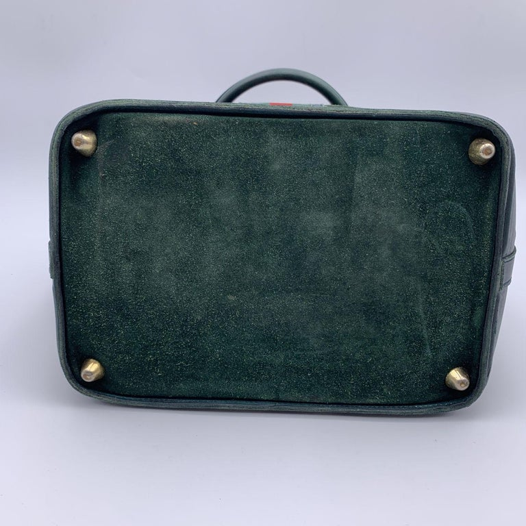 Gucci Vintage Green Suede Leather Travel Bag Train Case with Stripes For Sale 2