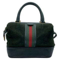 Gucci Vintage Green Suede Leather Travel Bag Train Case with Stripes