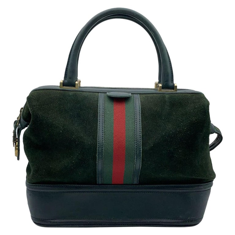 Gucci Vintage Green Suede Leather Travel Bag Train Case with Stripes For Sale