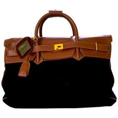 Gucci Vintage Large Men's Leather Trimmed Black Suede Travel Bag