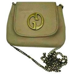 Gucci Vintage Leather Bag - Beige/Gold