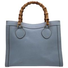 Gucci Vintage Light Blue Leather Princess Diana Bamboo Tote Bag