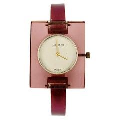 Gucci Vintage Manual Wind Pink Lucite Wrist Watch Bangle Rare