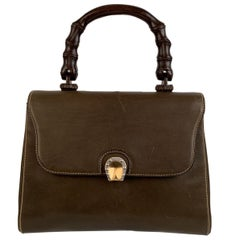 Gucci Vintage Military Green Leather Handbag Wood Handle