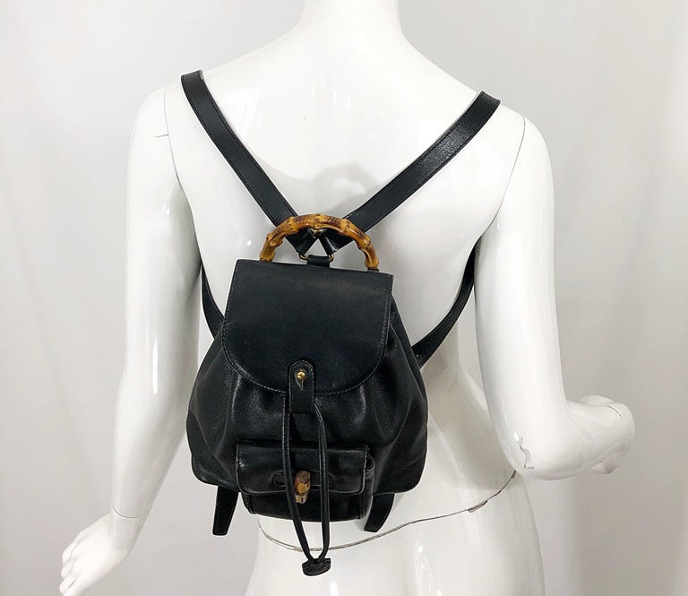 c0010ecf8 Rare vintage GUCCI black leather mini back pack! Features secure front  pocket that closes shut