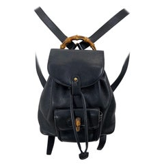 Gucci Vintage Mini Backpack Black Leather Signature Bamboo Handle