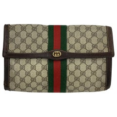Gucci Vintage Monogram Canvas Flap Cosmetic Bag Clutch