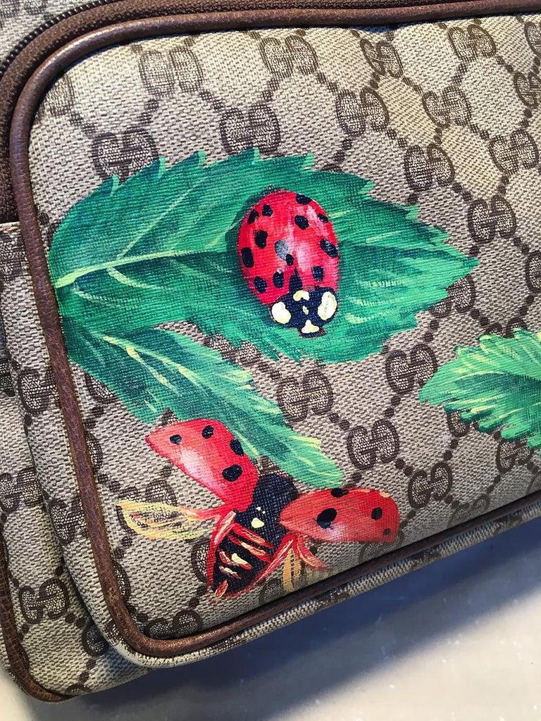 Gucci Vintage Monogram Customized Ladybug Reporter Messenger Shoulder Bag For Sale 1