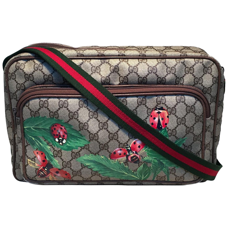 Gucci Vintage Monogram Customized Ladybug Reporter Messenger Shoulder Bag