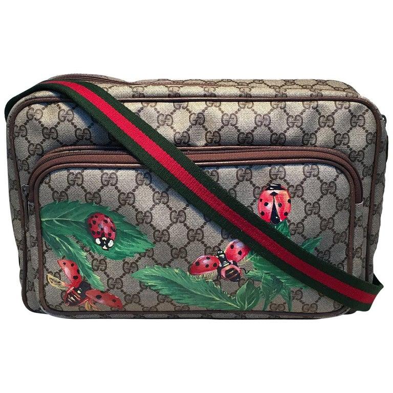 Gucci Vintage Monogram Customized Ladybug Reporter Messenger Shoulder Bag For Sale