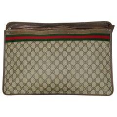 Gucci Vintage Monogram Supreme XL Portfolio Clutch W/ Web