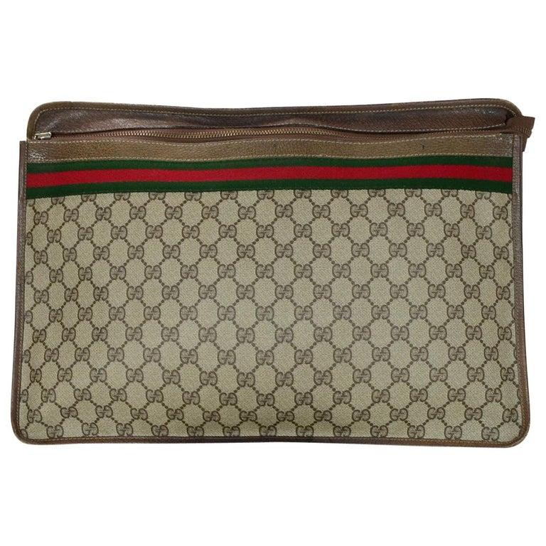 c6723760163 Gucci Vintage Monogram Supreme XL Portfolio Clutch W  Web For Sale ...