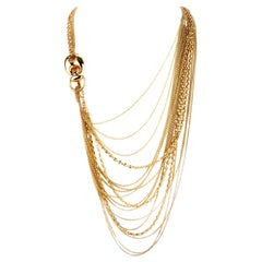 Gucci Vintage Multi Strand 18 Karat Yellow Gold Long Lariat Chain Necklace