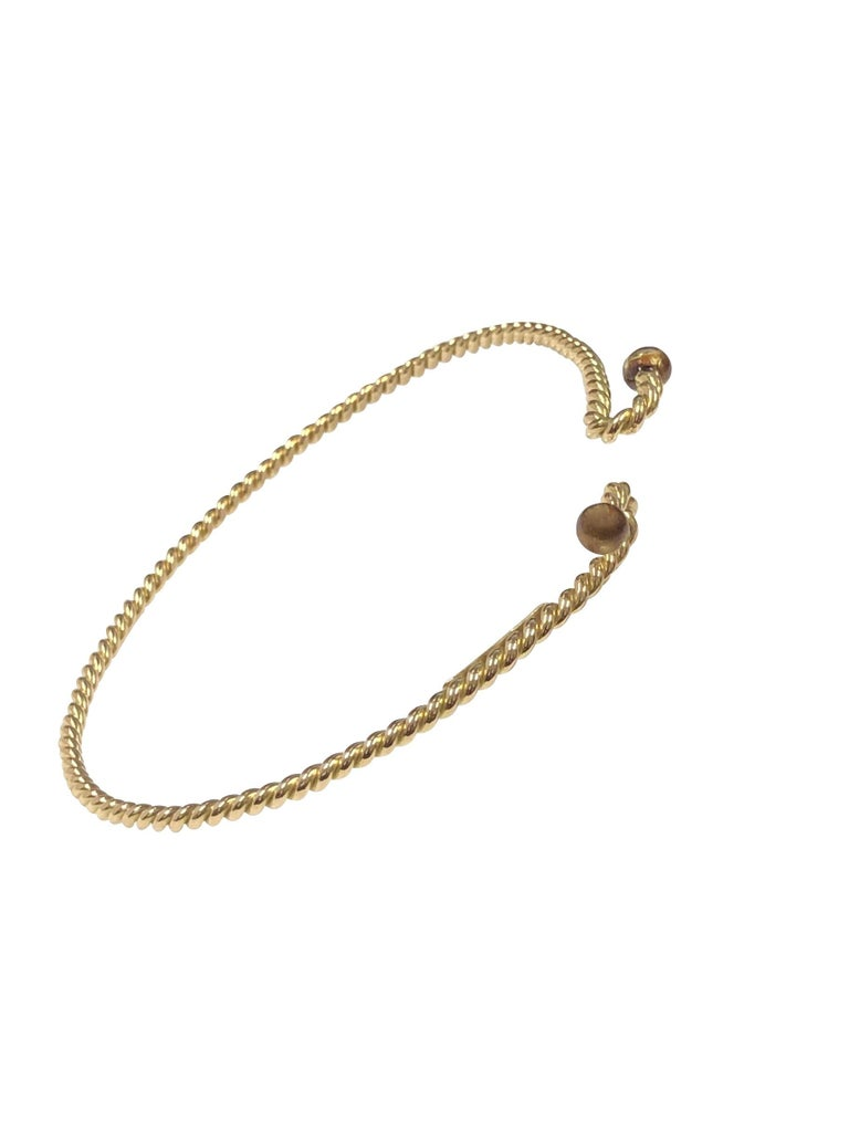 Gucci Vintage Nautical Rope Yellow Gold Bracelet In Excellent Condition For Sale In Chicago, IL
