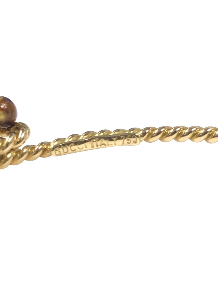 Women's or Men's Gucci Vintage Nautical Rope Yellow Gold Bracelet For Sale